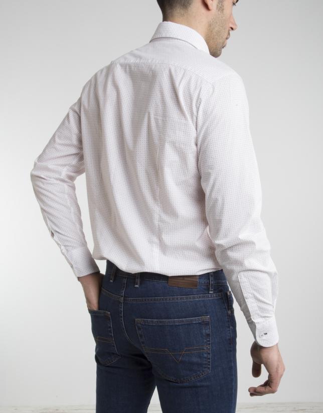 Chemise à pois grenat
