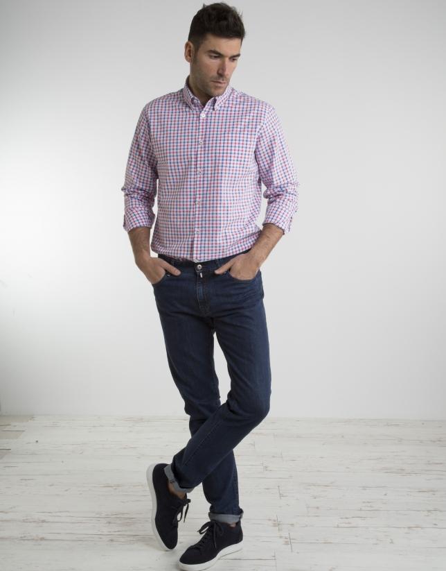 Coral/ deep blue checked shirt