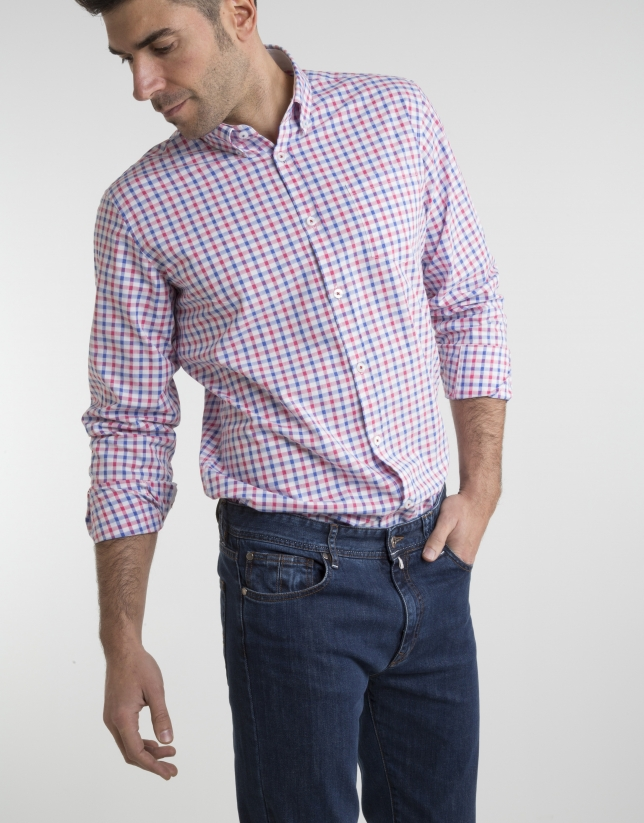 Chemise à carreaux couleur corail/bleu roi