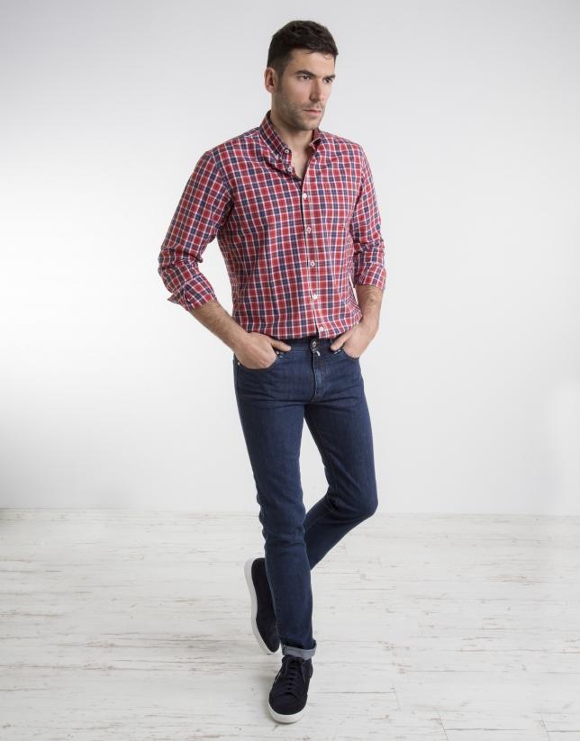 Chemise à carreaux en rouge/violet/vert