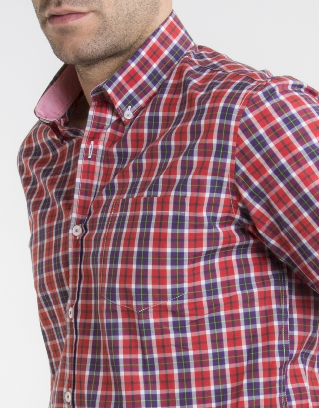 Red/purple/green checked shirt