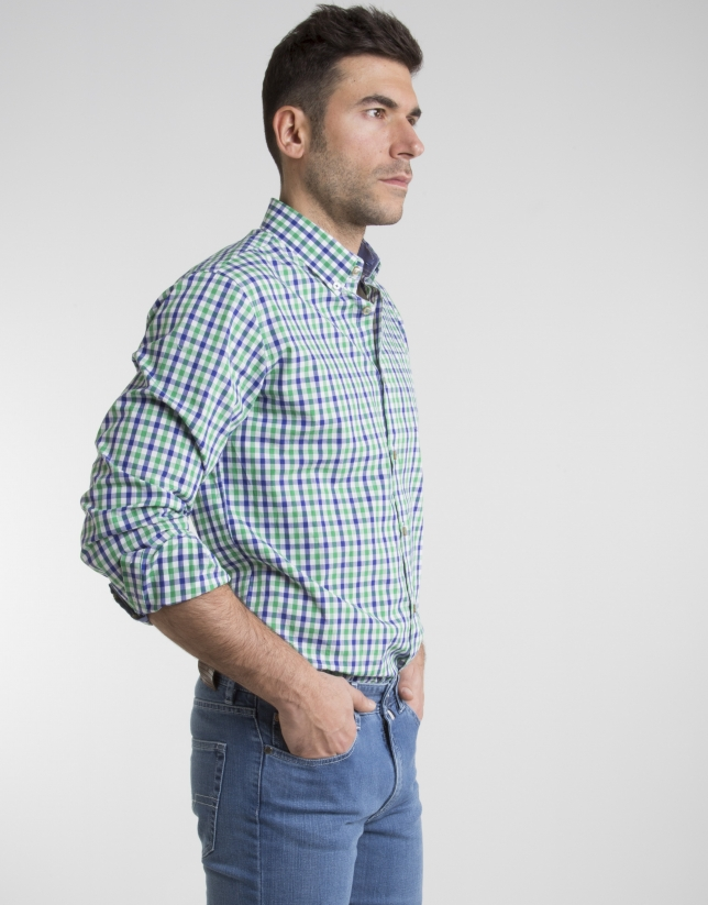 Camisa cuadros verde/marino