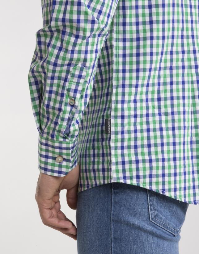 Chemise à carreaux en vert/bleu marine