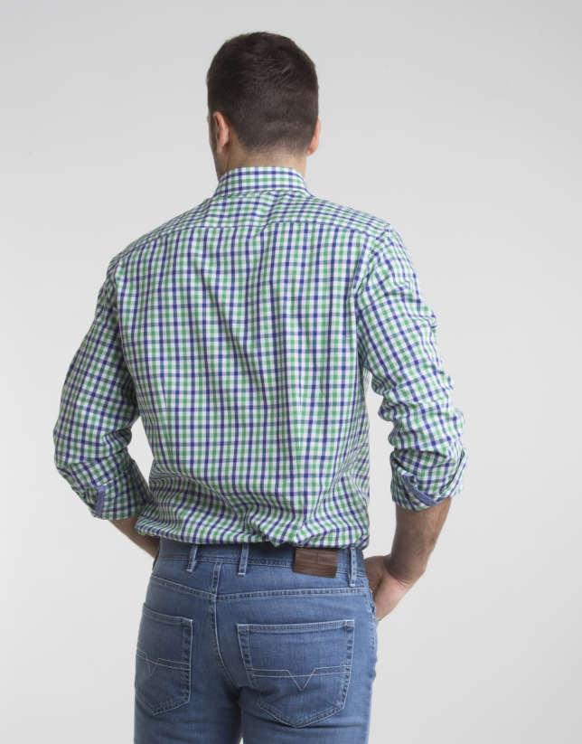 Green/navy blue checked shirt