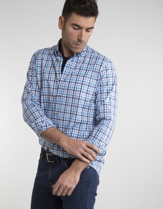 Chemise à carreaux en bleu marine/bleu ciel