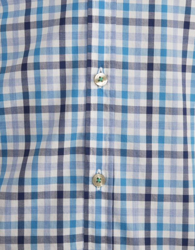 Navy blue/light blue checked shirt