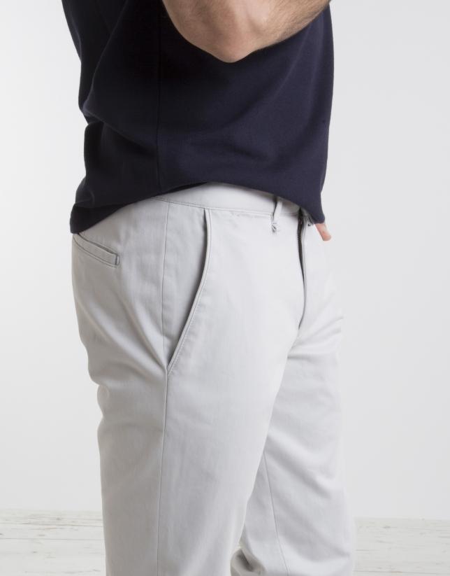 Pantalon chino en coton, couleur pierre