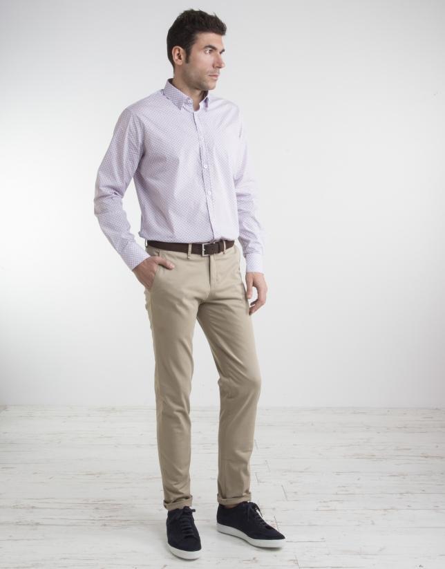 Pantalon chino en coton beige