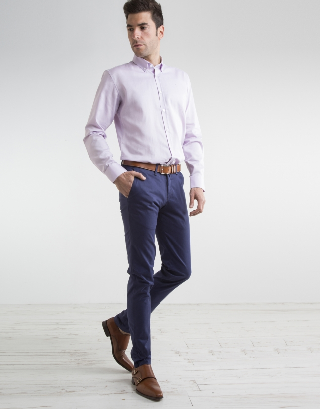 Navy blue cotton chino pants