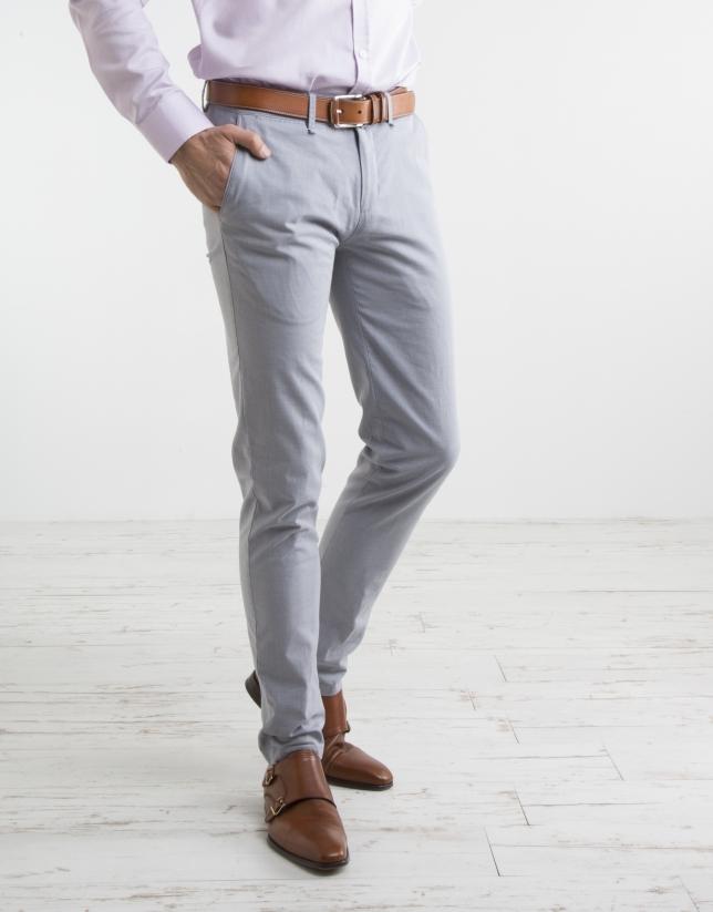 Pantalon chino microstructuré bleu marine
