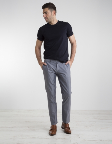 Pantalón chino algodón/lana marino