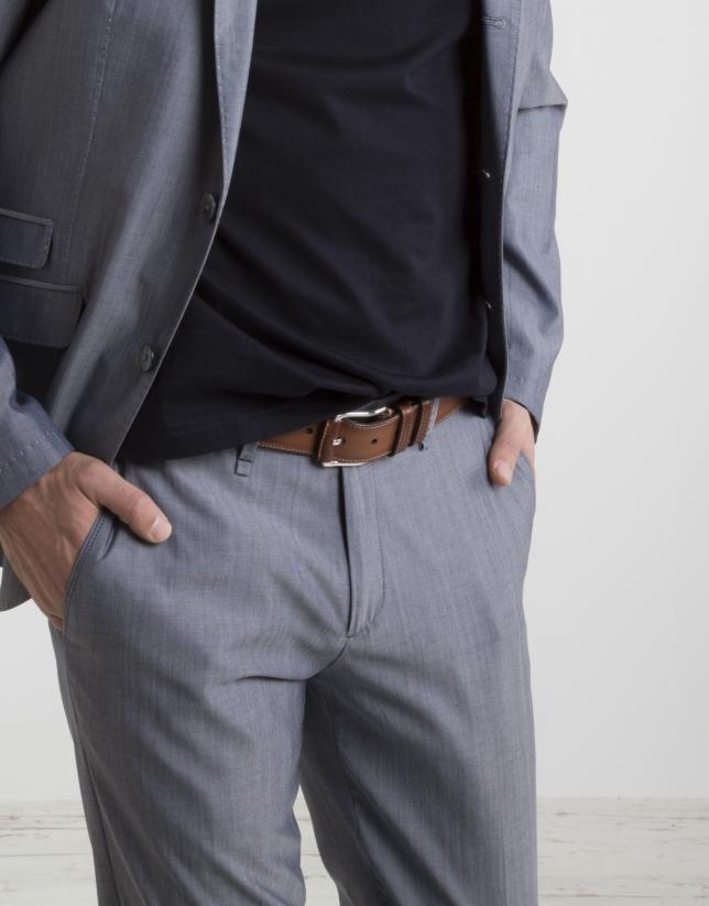 Pantalon chino en coton/laine, bleu marine