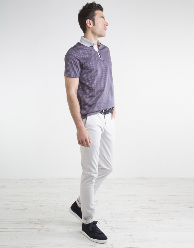 Stone-colored micro twill chinos