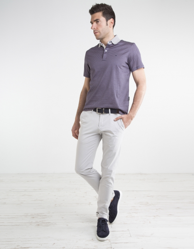 Pantalon chino en micro-sergé couleur pierre