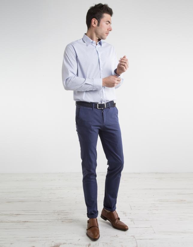 Pantalon chino en micro-sergé bleu marine