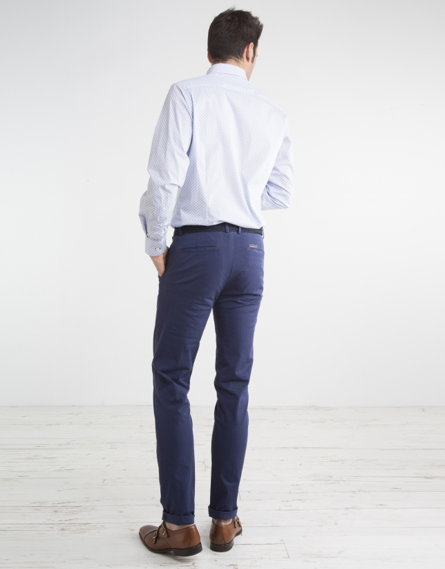 Navy blue micro twill chinos