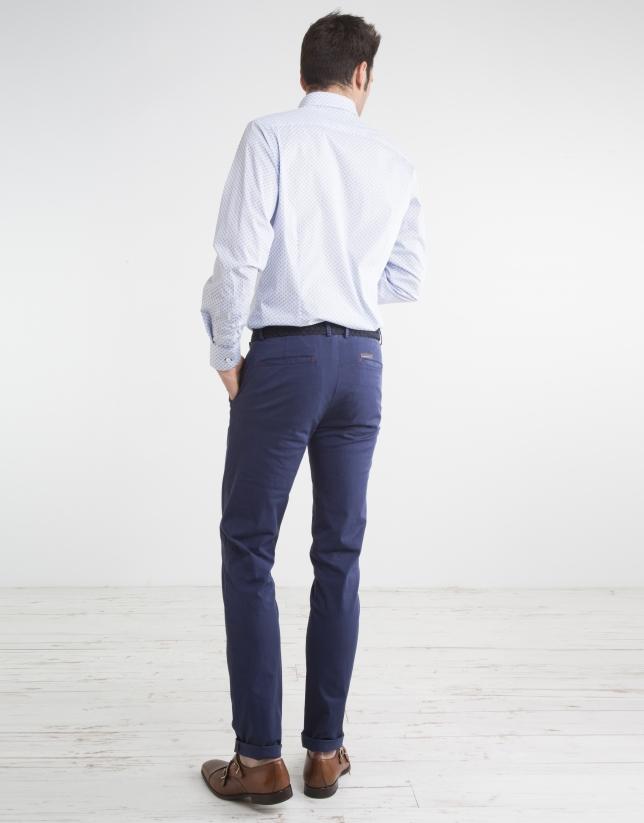 Pantalon chino microsarga marino