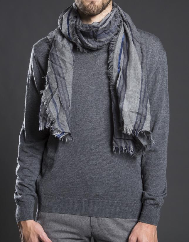 Étole à rayures gris bleu