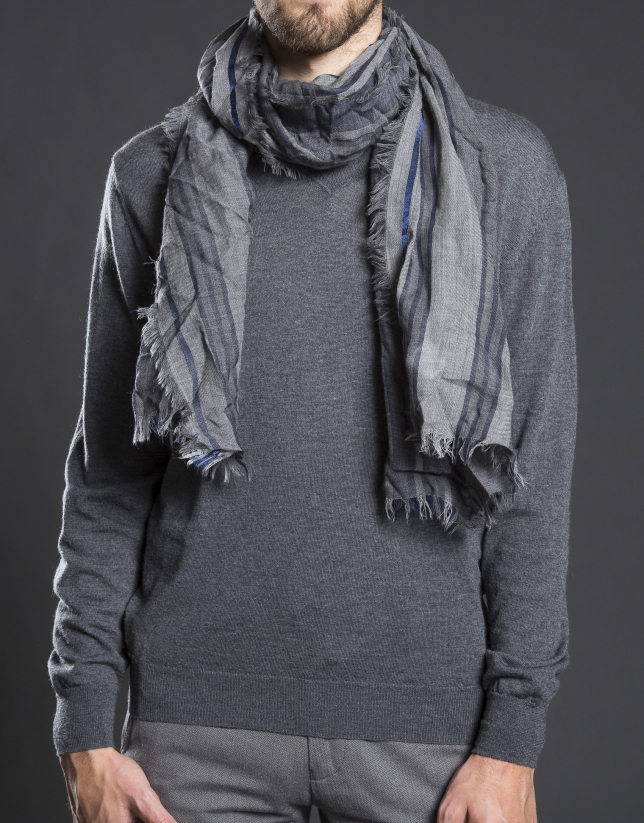 Grey scarf with blue stripes