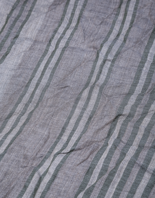 Grey scarf with blue stripes