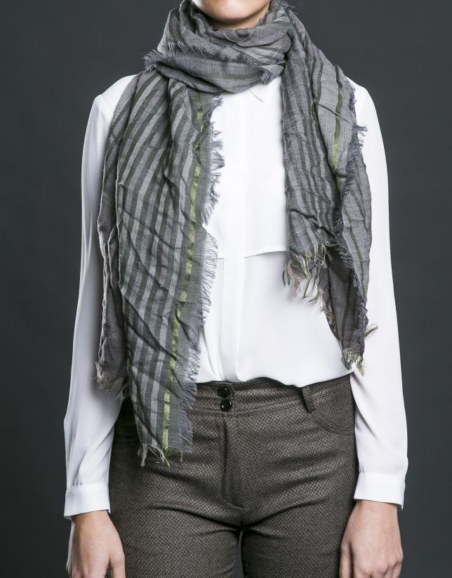 Foulard gris rayas verdes