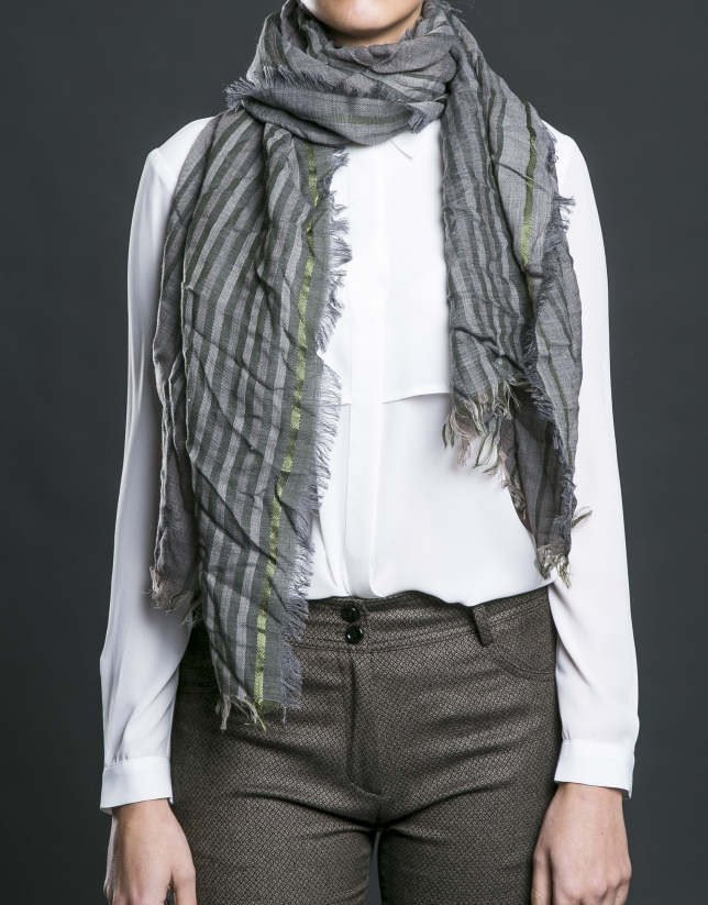 Grey scarf with green stripes