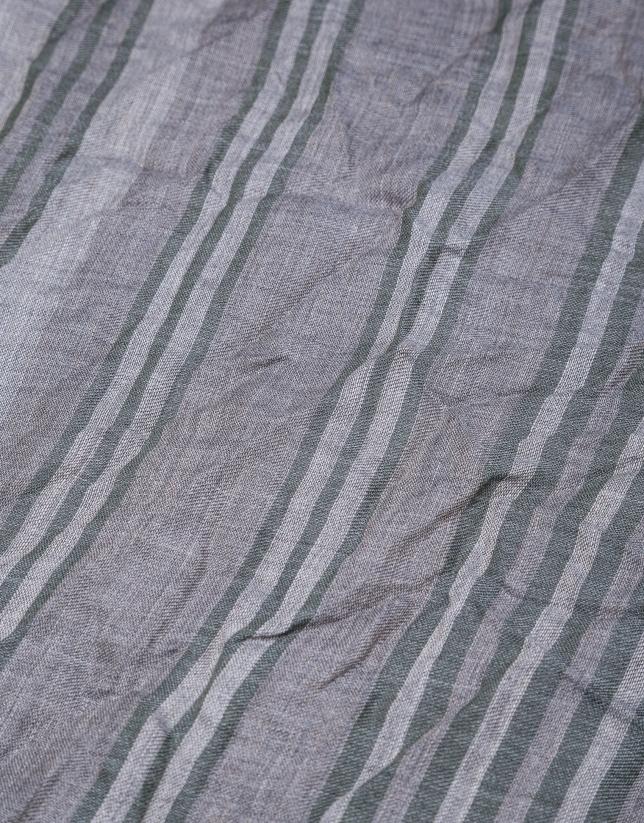 Grey scarf with green stripes