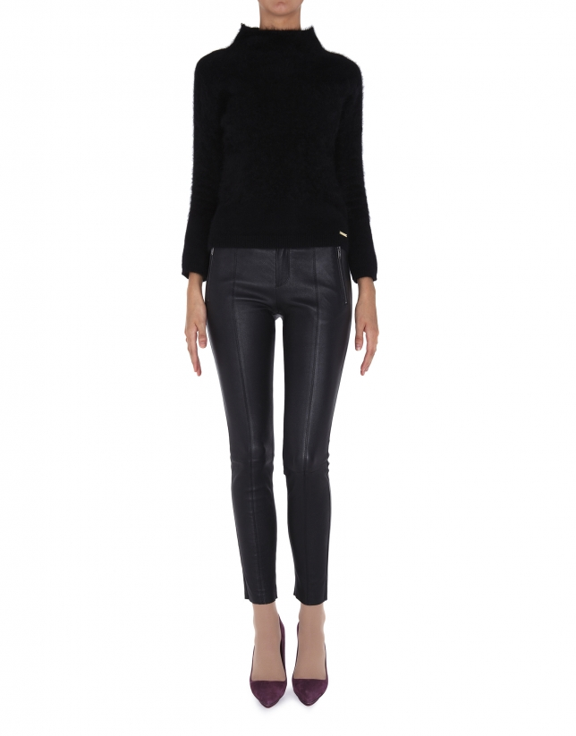 Black angora sweater with turtle neck collar