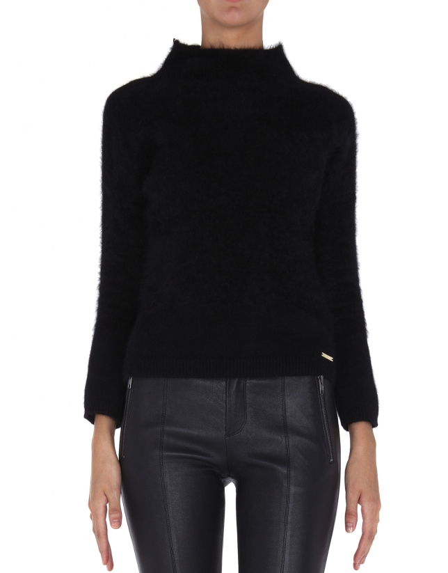 Black angora sweater with turtle neck collar
