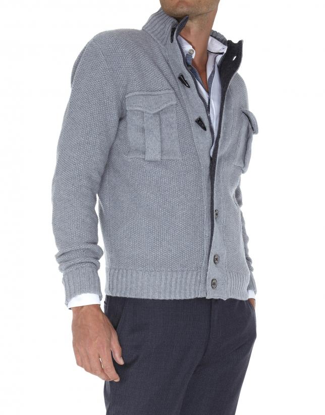 Seed stitch knit jacket