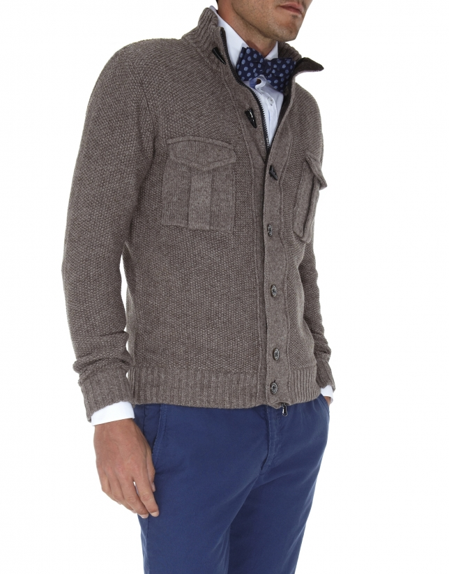 Seed stitch knit jacket.