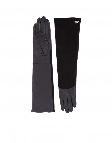 Gants longs noirs en nappa et daim