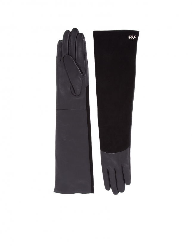 Long black leather and suede gloves