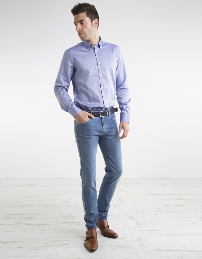 Camisa oxford algodón marino