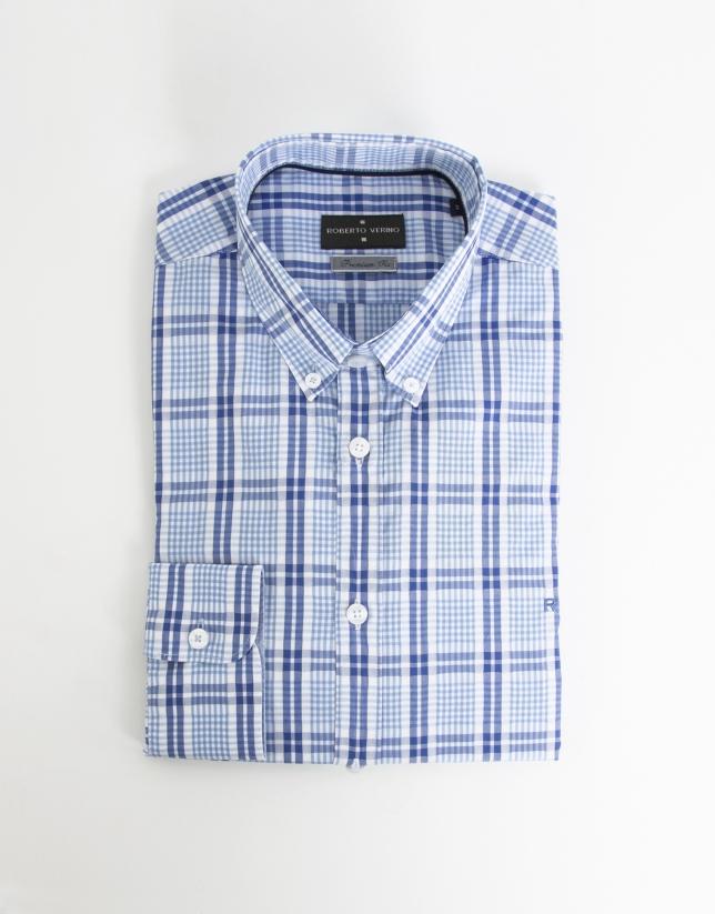 Chemise de ville bleue à carreaux