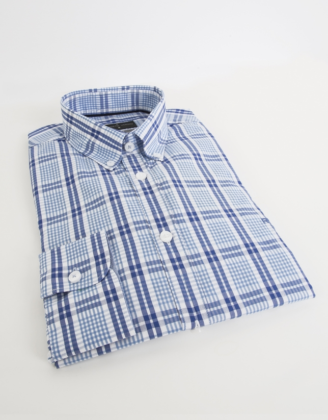 Navy blue checked sport shirt