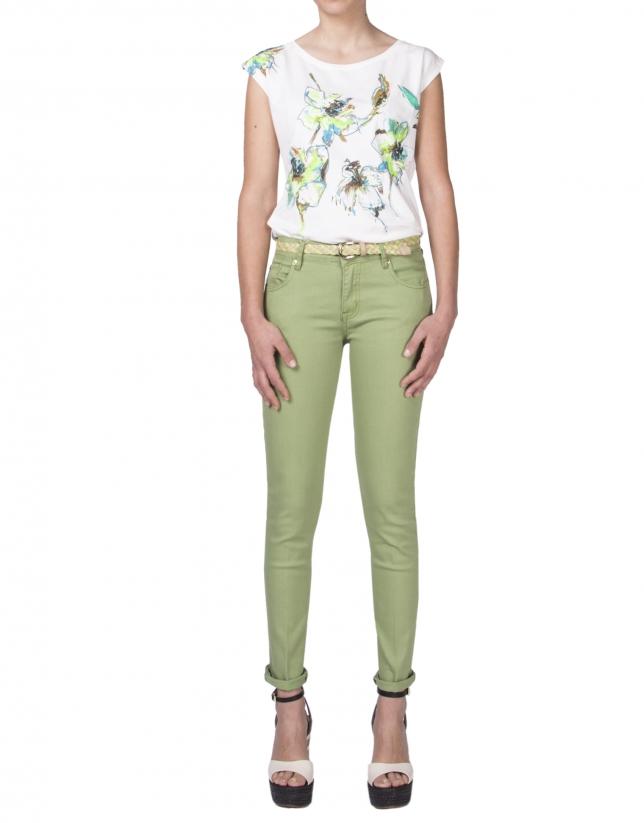 T-shirt sans manches à broderie florale