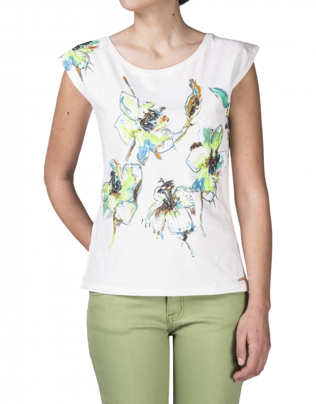 Sleeveless floral print t-shirt