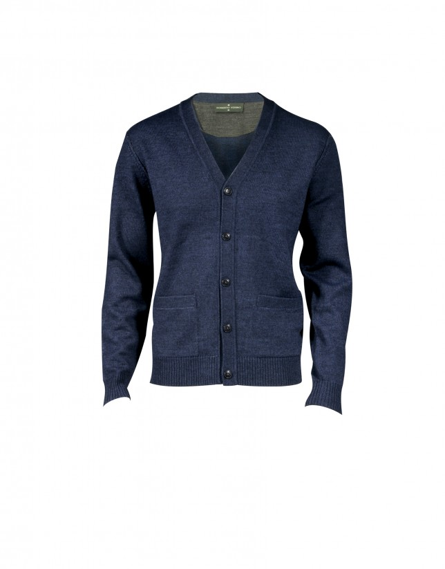 Blue cardigan in 100% wool