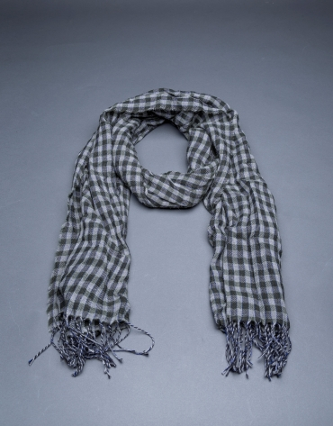 Grey and green check scarf