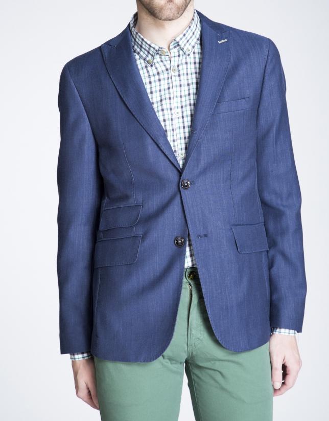 Veste à micro-motifs bleus