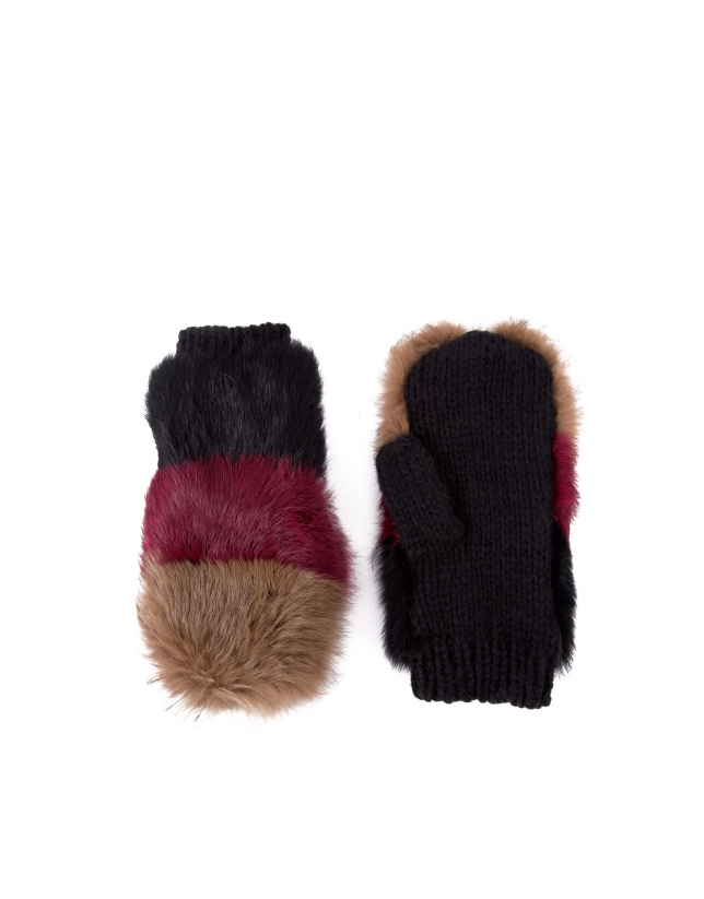 Tricolor knit and rabbit fur mittens