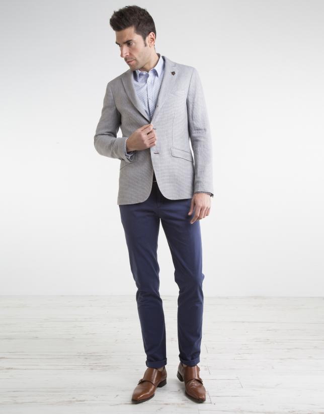 Veste en lin/coton couleur sable à micromotifs