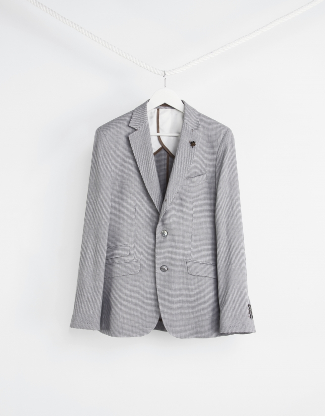 Sandy microprint cotton/linen sport coat