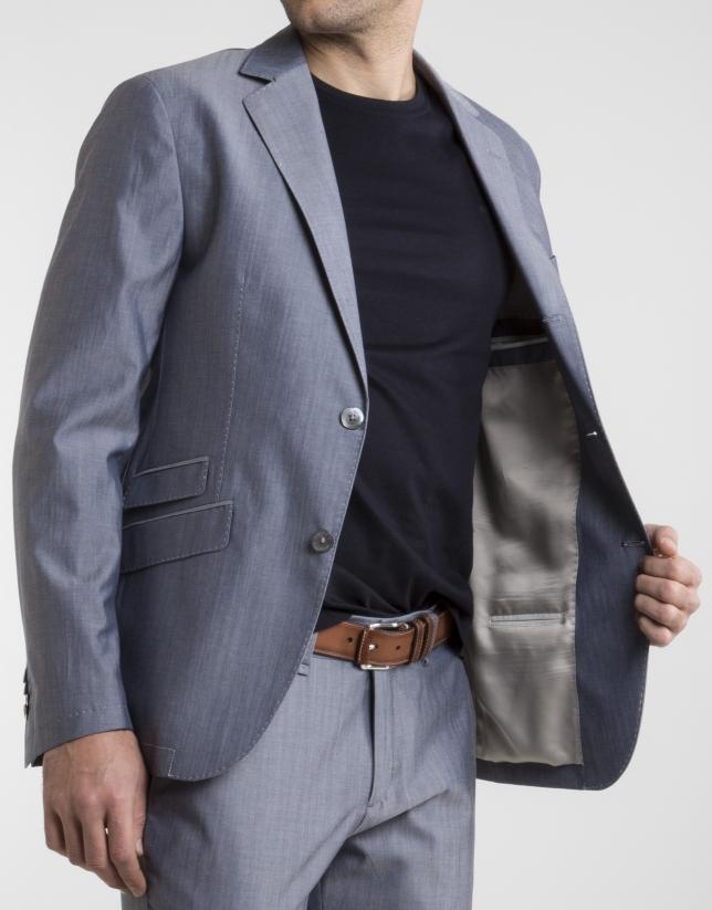 Veste en coton/laine bleu marine