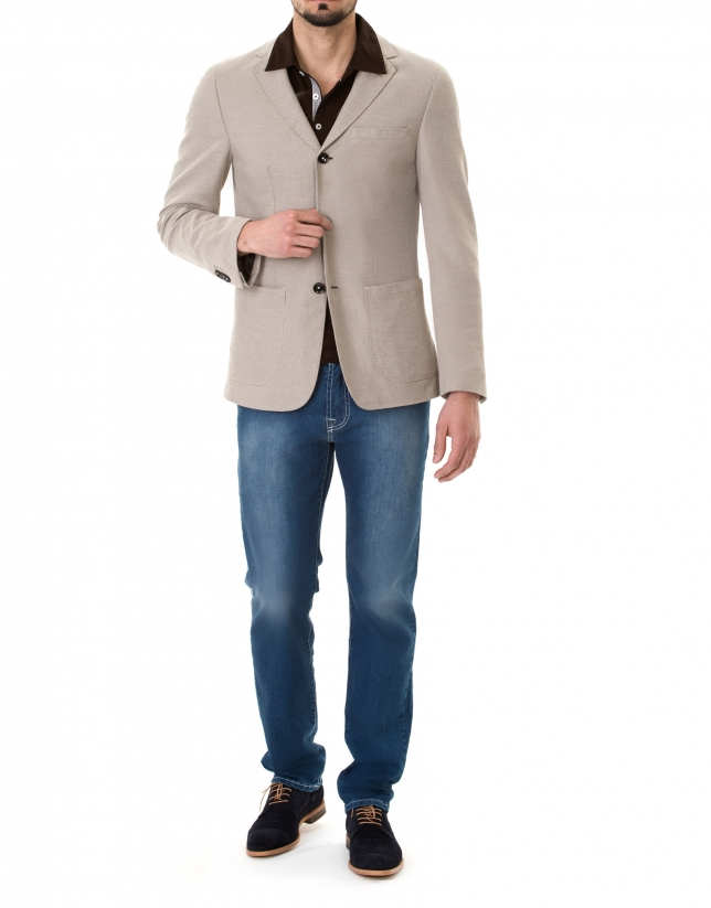 Beige structured sport jacket
