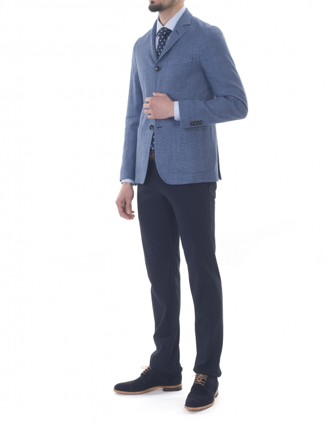 Blue and gray microprint sport jacket