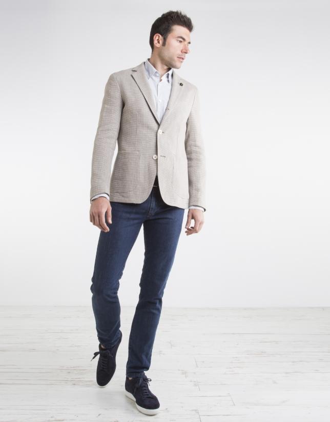 Beige microprint cotton/linen sport coat