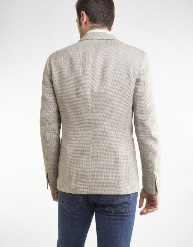 Veste en lin/coton beige à micromotifs
