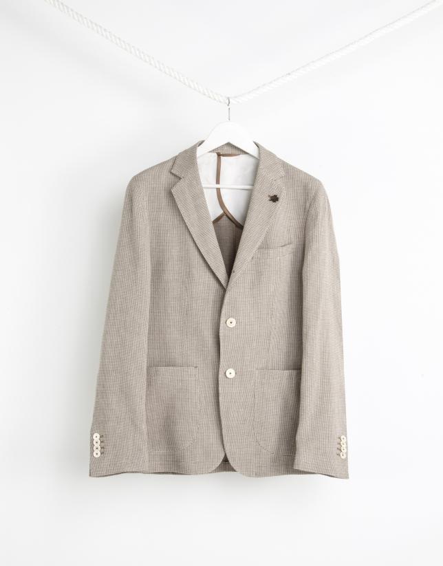 Americana lino/algodón microdibujo beige
